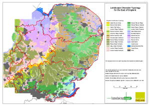 East of England Landscape Typology - A3 Landscape Map with National Character Areas