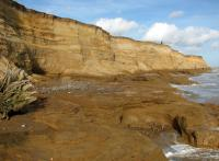 Ancient clay beds exposed at Covehithe Cliffs Copyright Evelyn Simak and licensed for reuse under this Creative Commons Licence