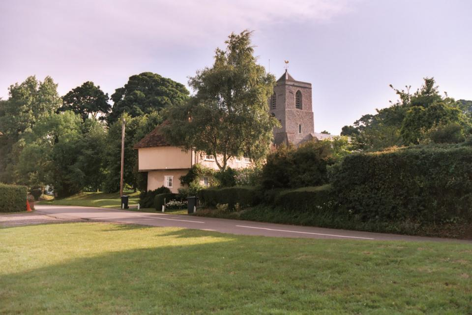 Wooded Village Farmlands + Across Sandon village green towards church, Hertfordshire (2001) (© HCC Landscape)