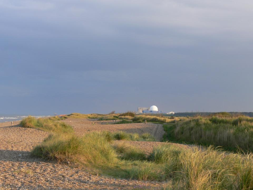 View south towards Sizewell Nuclear Power Station from Dunwich Heath beach. (© Jonathan Dix)